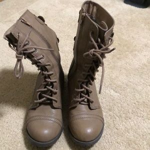 Brown mid-calf boot